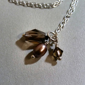 Petite Pendant, Gemstone Cluster in Browns, Smokey Quartz, Freshwater Pearl, Swarovski Crystal, Silver,Simple Charm Necklace,HipChickJewelry