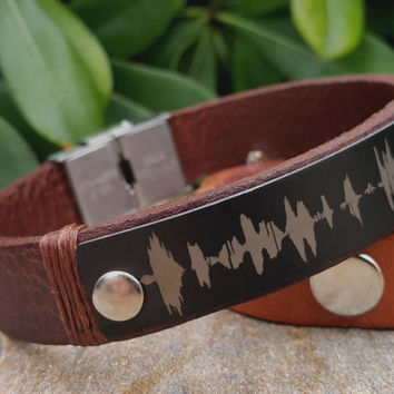 Sound Waves Bracelet, Personalized Mens Leather Sound Wave Jewelry, Customized Leather Bracelet Gifts, Black Aluminum Plate, Voice Recording