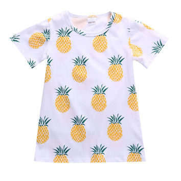 Cute Baby Girls Kids Toddler Pineapple Print Short Sleeve Cotton Casual Summer T-Shirts 2-7Y