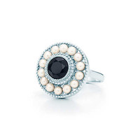 Tiffany & Co. - Ziegfeld Collection pearl ring in sterling silver and black onyx.