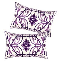 "2-Pack Georgina Embroidered Oblong Toss Pillows (12x18"")"