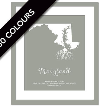 Maryland Roots - State Map Art Print - Maryland Map - Geography Poster - Maryland Art Print - Maryland Poster - Travel Art  - Custom State