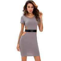 Fashion Hollow Bandage Leather Slim Round Necked Short Sleeve One Piece Dress Underbust Waist _ 12595