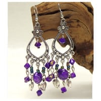 Antique Bohemian Bead Drop Silver/Purple Earrings