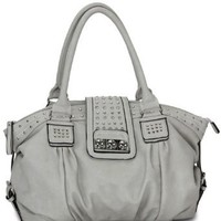 MG Collection Brenna Studded Large Shopper Hobo Shoulder Bag, Grey, One Size