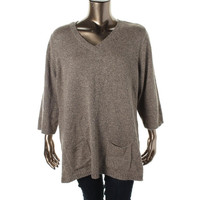 Karen Scott Womens Plus Knit V-Neck Tunic Sweater
