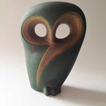 Vintage Abstract Owl Figure Green and Gold Accent Piece