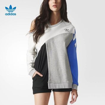 adidas originals fashion blue patchwork design sense top pullover