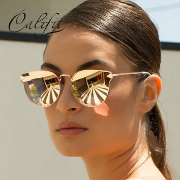 CALIFIT Cat Eye Pink Mirror Sunglasses Women Brand Designer 2017 Lunette Illesteva Fashion Sun Glassses For Women Female New