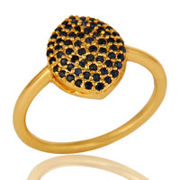 14K Yellow Gold Over Sterling Silver Pave Set Blue Sapphire Gemstone Stack Ring