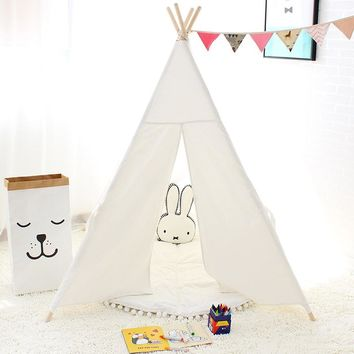 Classic Cotton Teepee Play Tent in Solid Colors (White, Pink, Blue) - Children's Modern Playhouse