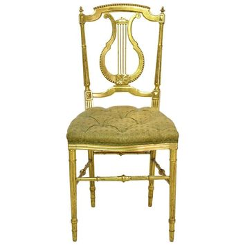 Belle Époque French Gilded Louis XVI Chair with Lyre-Back and Upholstered Seat