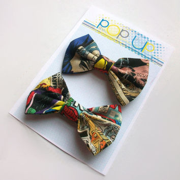 Marvel Comics Hair Bows / Comic Book Hairbows / Spiderman Bow Clips Set