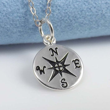 Pendant necklace Compass pendant necklace  by jewelrycraftstudio