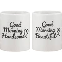 His and Hers Coffee Mug Set - Good Morning Handsome, Good Morning Beautiful