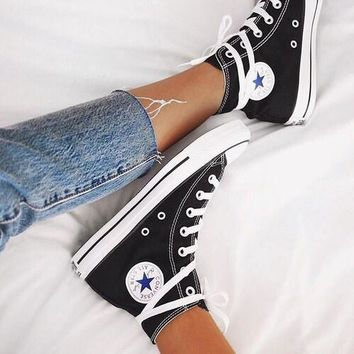 Converse Fashion Canvas Flats Sneakers Sport Shoes black high-tops