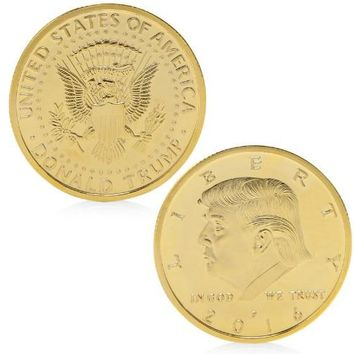 Gold/Silver-Plated President Donald Trump In God We Trust Commemorative Coin Token Gift