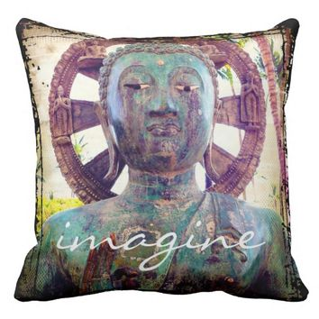Imagine Asian turquoise statue photo throw pillow