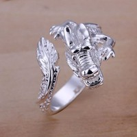 Duman Silver Plated Ring Nickel Free Fashion Jewelry Dragon Adjustable Ring Valentine's Day
