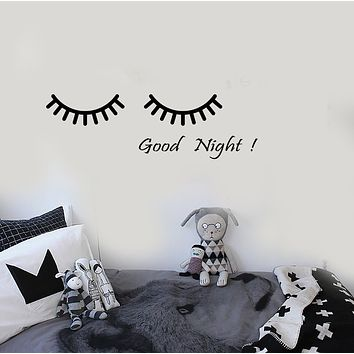Vinyl Wall Decal Cartoon Eyes Goodnight Quote Words Nursery Room Stickers (3621ig)
