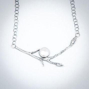 Pearl & Sterling Silver Star Magnolia Branch Necklace