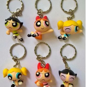 powerpuff girls action figure toy cake decoration mini toys Keychain Auto Keyring Women kids Bag 3-5cm