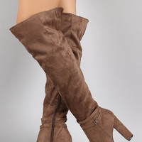 Breckelle Slouchy Over the Knee Chunky Heeled Boots