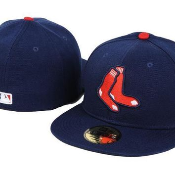 auguau Boston Red Sox New Era MLB Authentic Collection 59FIFTY Hats Blue-Red