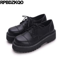 Creepers Platform Shoes Thick Sole Slip Resistant Elevator Oxfords Lace Up Round Toe Women Flats Muffin Black Drop Shipping