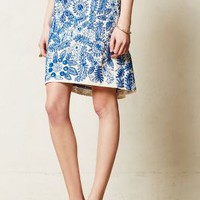 Embroidered Bleuet Pencil Skirt by Moulinette Soeurs Blue Motif