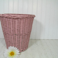 Vintage Rose Pink Woven Wicker Bin - Powder Room Round Mauve Rattan Waste Basket - Cottage Chic Style Carnation Pink Decorative Carry All