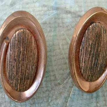RENOIR Copper Coronet Oval Clip Earrings Vintage Jewelry