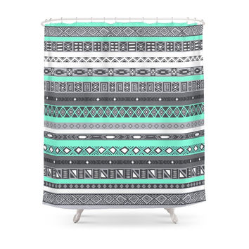 Society6 Tiffany Turquoise Aztec Print Shower Curtains