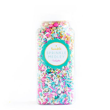 Sugar Fairy Twinkle Sprinkle Medley, Holiday Sprinkles, Pink and Gold, Sprinkle Mix, Turquoise Sprinkles, Gold Beads -- Med (8 oz)
