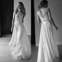 Bohemian Two Pieces Wedding Dresses with Beads Custom Size 2 4 6 8 10 12 14 16