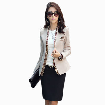 Women Elegant Leopard Blazer 2016 Autumn Korean Ladies One Button Long Sleeve Business Suits Casual Coat Black Basic Jackets