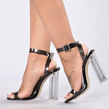 11cm Summer Women Sandals PVC Block High Heel Crystal Clear Transparent Sandals Concise Buckle Ankle Straps Pump Wedding Shoes