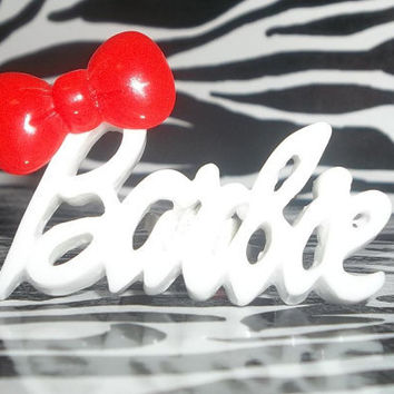 White and Red  Barbie Inspired Adjustable Ring