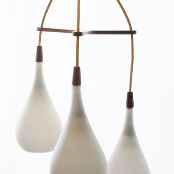 Danish Modern, Chandelier, Light, 3- Available, Tear Drop, Lighting, Pendant, Teak, Pendant, Fixture, Mid Century Modern, Vintage,1950'S