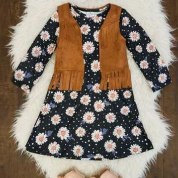 DAISY FRINGE VEST DRESS SET