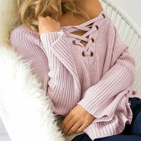 Knit Tops V-neck Pullover Stylish Sweater [31301074970]