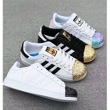 Adidas Superstar Fashion Women Men Leisure Electroplating Color Shell Toe Metal  Board Shoes Sport Running Shoe Sneakers White Gold I-CQ-YDX
