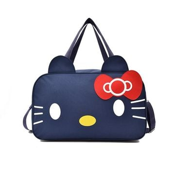 Travel bag cartoon hello kitty portable large capacity ladies bag fashion wild storage bag