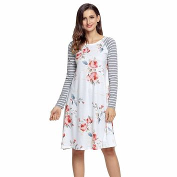 White Floral Print Stripe Raglan Sleeve Dress