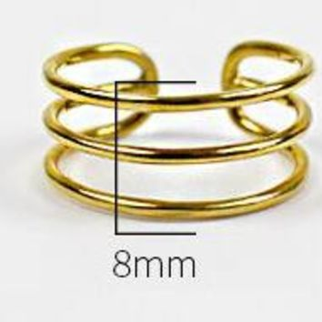 SHANICE Big Gold Color Classic 925 Sterling Silver Adjustable Wide Ring Finger Unisex Women Sample Open Ring Band Bijoux Jewelry