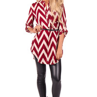 Burgundy Chevron Belted Dress or Top