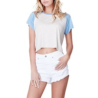 LE3NO Womens Casual Loose Fit Raglan Short Sleeve Crop Top