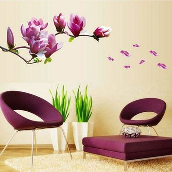 Modern Flower Cherry Wall Sticker Floral Blossoms Tree Removable Wall Decor US