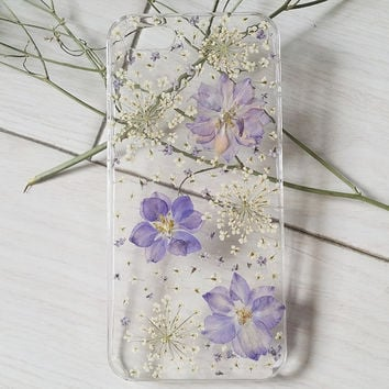 Handmade Real  natural dry colorful flower iphone 4 4s 5 5s 5c 6 6 plus  case cover samsung galaxy s5 note 2 note 3 case purple