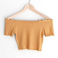 Off Shoulder Lettuce Edge Crop Top - Mustard